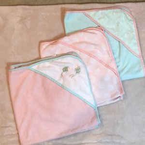 Set of three pink & mint hoodie towels for infants